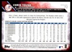 2016 Topps #72  Chris Young  Back Thumbnail