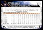 2016 Topps #249  Carlos Gomez  Back Thumbnail