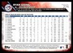 2016 Topps #274  Ryan Goins  Back Thumbnail
