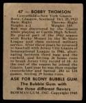 1948 Bowman #47  Bobby Thomson  Back Thumbnail