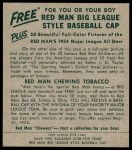 1954 Red Man #1 AL Bobby Avila  Back Thumbnail