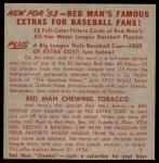 1953 Red Man #25 AL x Mel Parnell  Back Thumbnail