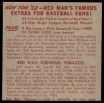 1953 Red Man #1 AL x Casey Stengel  Back Thumbnail