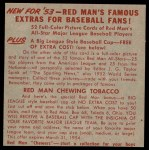 1953 Red Man #4 AL x Walt Dropo  Back Thumbnail