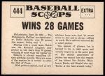 1961 Nu-Card Scoops #444   -   Robin Roberts  Robin Roberts Wins 28 Games Back Thumbnail