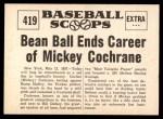 1961 Nu-Card Scoops #419   -   Mickey Cochrane  Bean Ball Ends Career Back Thumbnail