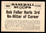 1961 Nu-Card Scoops #460   -  Bob Feller Feller Hurls 3rd No-Hitter of Career Back Thumbnail