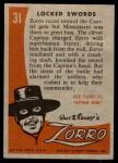 1958 Topps Zorro #31   Locked Swords Back Thumbnail