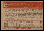 1952 Topps #305  Paul Richards  Back Thumbnail