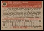 1952 Topps #255  Clyde Vollmer  Back Thumbnail