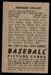 1952 Bowman #237  Sherm Lollar  Back Thumbnail