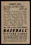 1952 Bowman #242  Everett Kell  Back Thumbnail