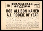 1961 Nu-Card Scoops #466   -  Bob Allison Named AL Rookie of Year Back Thumbnail