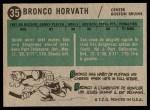 1958 Topps #35  Bronco Horvath  Back Thumbnail