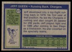 1972 Topps #117  Jeff Queen  Back Thumbnail