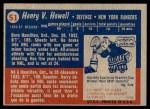 1957 Topps #51  Harry Howell  Back Thumbnail