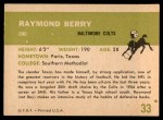 1961 Fleer #33  Raymond Berry  Back Thumbnail