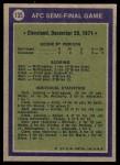 1972 Topps #135   AFC Semi-Final Game Back Thumbnail