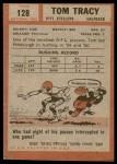 1962 Topps #128  Tom Tracy  Back Thumbnail