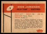 1960 Fleer #5  Dick Jamieson  Back Thumbnail