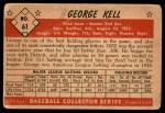 1953 Bowman #61  George Kell  Back Thumbnail