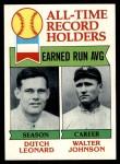 1979 Topps #418   -  Dutch Leonard / Walter Johnson All-Time Record Holders - ERA Front Thumbnail