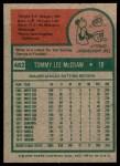 1975 Topps #482  Tom McCraw  Back Thumbnail