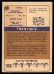 1974 O-Pee-Chee WHA #28  Fran Huck  Back Thumbnail