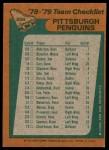 1978 Topps #204   Penguins Team Checklist Back Thumbnail