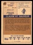1974 O-Pee-Chee WHA #62  Claude St.Sauveur  Back Thumbnail