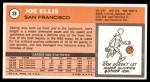 1970 Topps #28  Joe Ellis   Back Thumbnail
