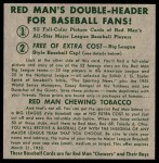 1952 Red Man #12 NL x Ralph Kiner  Back Thumbnail
