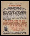 1949 Bowman #159  Glen Moulder  Back Thumbnail