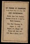1952 Berk Ross  Joe Ostrowski  Back Thumbnail
