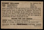 1952 Bowman Large #133  Robert Williams  Back Thumbnail