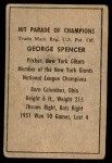 1952 Berk Ross  George Spencer  Back Thumbnail