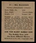 1948 Bowman #31  Bill McCahan  Back Thumbnail
