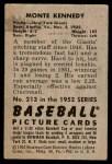 1952 Bowman #213  Monte Kennedy  Back Thumbnail