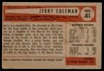 1954 Bowman #81 ALL Jerry Coleman  Back Thumbnail