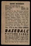 1952 Bowman #173  Gene Bearden  Back Thumbnail