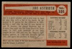 1954 Bowman #131  Joe Astroth  Back Thumbnail