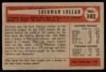 1954 Bowman #182  Sherm Lollar  Back Thumbnail