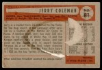 1954 Bowman #81 ALL Jerry Coleman  Back Thumbnail