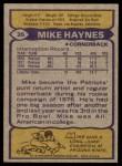 1979 Topps #35  Mike Haynes  Back Thumbnail