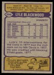 1979 Topps #299  Lyle Blackwood  Back Thumbnail