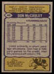 1979 Topps #49  Don McCauley  Back Thumbnail