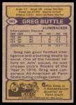 1979 Topps #161  Greg Buttle  Back Thumbnail
