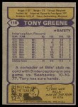 1979 Topps #118  Tony Greene  Back Thumbnail