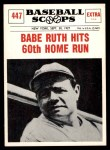 1961 Nu-Card Scoops #447   -   Babe Ruth Hits 60th Home Run Front Thumbnail