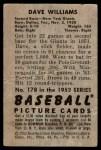 1952 Bowman #178  Davey Williams  Back Thumbnail